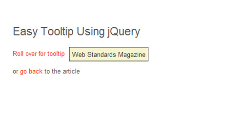 Example 1: The Simplest jQuery Tooltip Ever