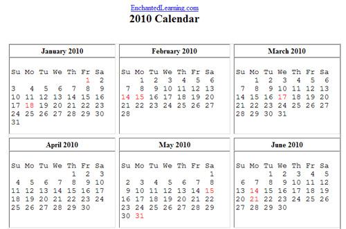 print calendar 2010