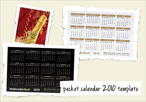 pocket calendar template