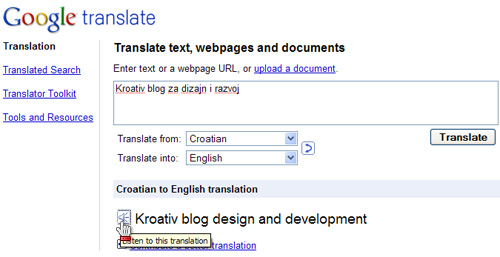 google translator koji govori