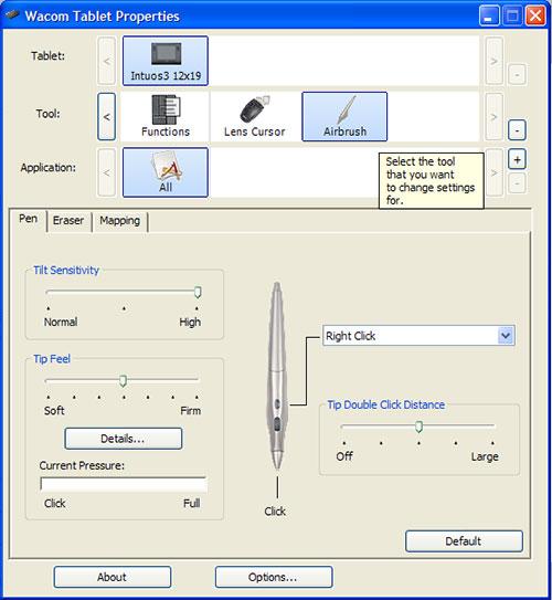 postavke za wacom intuos tablet i airbrush