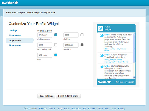 twitter feed widget generator, web design toolbox