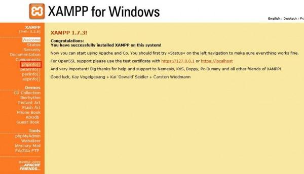 XAMPP prozor nakon odabira jezika