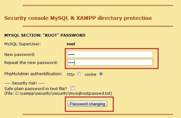 XAMPP MySQL lozinka