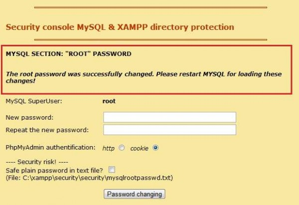 XAMPP security console